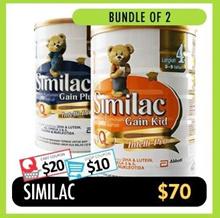 [SIMILAC] [Bundle of 2] 1.8kg Baby Milk Powder ★ Gain Plus 3 / Gain Kids 4 ★ Made in Ireland ★