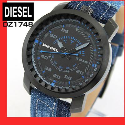 ★送料無料DIESELディーゼルRIGリグDZ1748海外モデルメンズ腕時計ウォッチクオーツアナログ黒ブラック青ブルーデニムレザーバンド