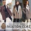 レディース アウター コート ムートンコート XL 大きいサイズ Pコート ビッグシルエット 秋冬 ゆったり ロング グレー キャメル ブラウン
