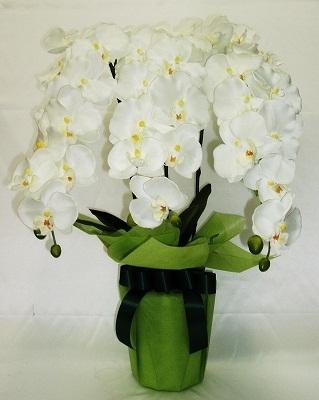 ●代引き不可送料無料造花 TS-108 胡蝶蘭 ポット 3本立てホワイト93515の画像