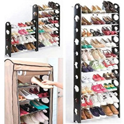 Amazing Shoe Rack with Cover Household Shoes Cabinet Organizer Shelf Storage Portable Adjustable