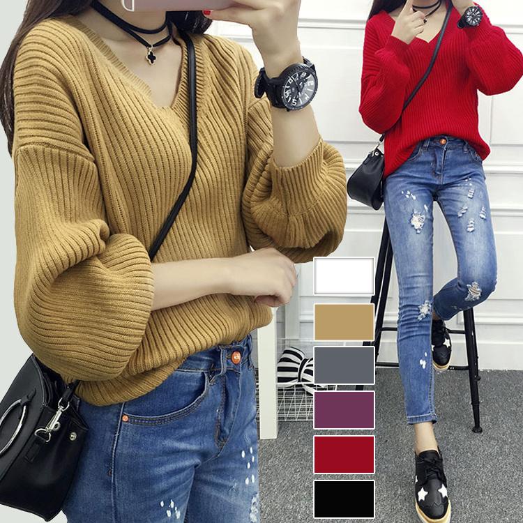 大特価 ★秋冬新作 ニット レデイースファッション 大人気 セーター  幅広くしっかり体型カバー 着痩せ  セーターニット パフスリーブのセーター女学院風vネックセーターでゆったり
