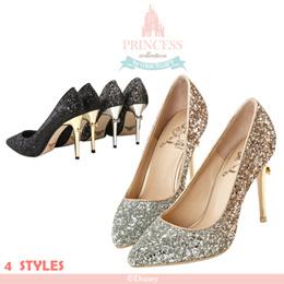 ♥New Arrival♥Gracegift-Disney Princess Snow White Rhinestone Ombre Glitter Heels/Women Shoes