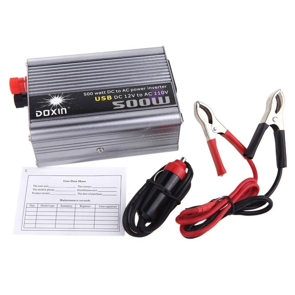 【クリックで詳細表示】500WワットDC 12V DC 24V AC 220V + AC 110V + USBポータブル電圧トランス車の電源インバータ