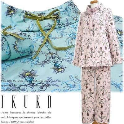 イクコ IKUKO パジャマ 接結スムース 花柄プリント 長袖パジャマ QQ220Pの画像