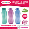 Tupperware Aquasafe Eco Fliptop Water Bottle 750ml 10 Colours *BPA Free*
