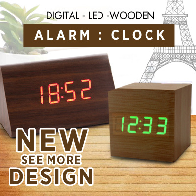 Qoo10 New Modern Wooden Wood Digital Led Desk Alarm