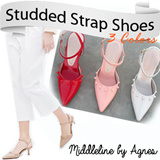 STUDDED STRAP SHOES ** SYNTHETIC LEATHER (GLOSSY) ** SIZE 36 TO 40