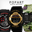 POPart NEW Fashion Simple square multifunction students luminous waterproof Men digital watches