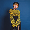 【GIRLS RULE】(t2353)トラップストライプT★韓国ファッション 韓国