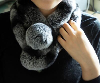 【送料無料】レッキスラビットファーマフラー☆極上の肌触り!【毛皮マフラー、ストール】の画像