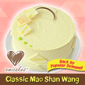 [Emicakes] 550g Classic Mao Shan Wang Cake. Layers of Classic Mao Shan Wang filling in between 2 layers of Vanilla Chiffon+. Available at 7 locations! SG Best Durian and Eggless Cake Maker. SG50.