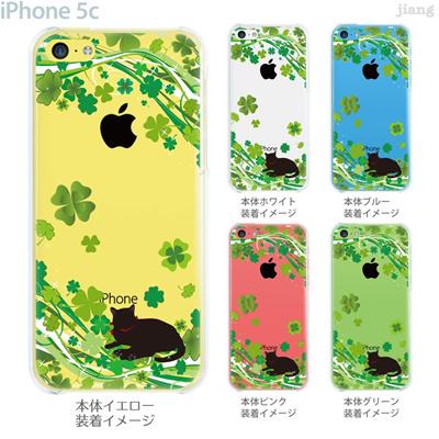 【iPhone5c】【iPhone5cケース】【iPhone5cカバー】【ケース】【カバー】【スマホケース】【クリアケース】【クリアーアーツ】【Clear Arts】【クローバーとネコ】 22-ip5c-ca0107の画像