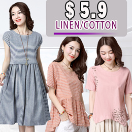 【Buy 3 Free Shipping】2018 new arrival cotton and linen short sleeved dress pants skirt shawl