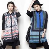 1536アンティークスタイルのシャツカラーワンピース型ロングブラウス/ロングシャツ/アンバランスブラウス/プリントシャツ/シャツカラー