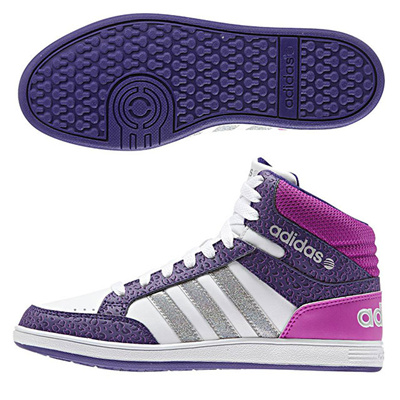 アディダス (adidas) ジュニア NEOHOOPS MID K(ランニングホワイト×マットシルバー×カレッジパープル) F98533 [分類:キッズ・子供靴 スニーカー]の画像