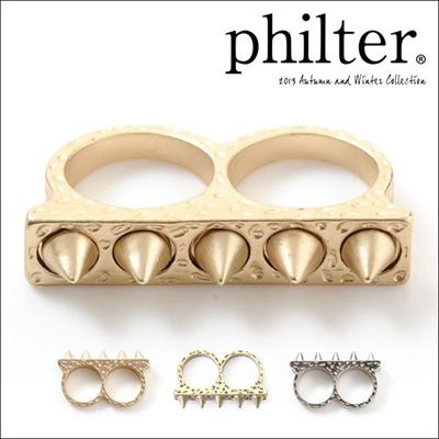 フィルター philter コーンスタッズ2フィンガーリング 指輪 スタッズ アクセサリー アクセ リング 通販 取寄商品の画像
