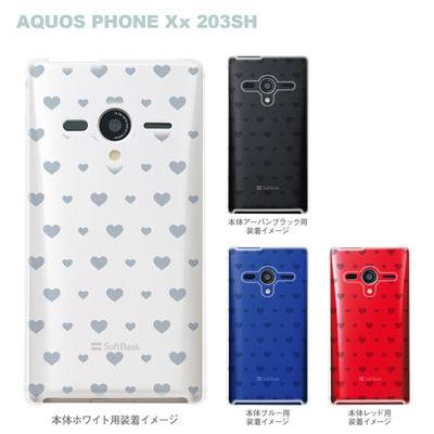 【AQUOS PHONEケース】【203SH】【Soft Bank】【カバー】【スマホケース】【クリアケース】【ミニハート】 06-203sh-ca0021kの画像