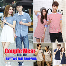 Update!!!2015 Best-selling  Korean Style Lovers Clothes/Couples Dress/Couple Wear/parent-children /Sweethearts Outfit/ Non-matching clothes/Fashion Cartoon T-shirts/Short Sleeve Cotton Tees