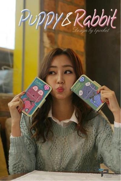 iPhone6 Plus Tongkeun Pocket The PuppyRabbit Diary( ダイアリータイプ レザーケース)【レビューを書いてメール便送料無料】の画像