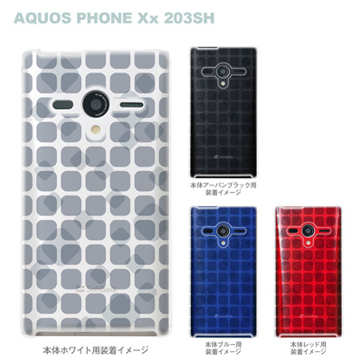 【AQUOS PHONEケース】【203SH】【Soft Bank】【カバー】【スマホケース】【クリアケース】【トランスペアレンツ】【タイル】 06-203sh-ca0021qの画像