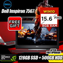 DELL INSPIRON I7-7700HQ / 8GB DDR4 RAM / 128GB SSD + 500GB HDD [After Free Upgrade] / 4GB NVIDIA® GTX1050TI DDR5 / 15.6FHD/ Win10. Free Anti Virus! Most Value for $ Gaming Laptop!