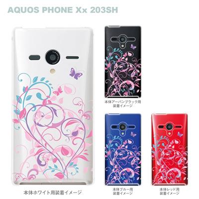 【AQUOS PHONEケース】【203SH】【Soft Bank】【カバー】【スマホケース】【クリアケース】【フラワー】【花と蝶】 22-203sh-ca0083の画像
