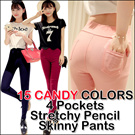 SG Delivery!Buy 2 Free Shipping! 18 CANDY COLORS 4 Pockets Stretchy Pencil Skinny Pants