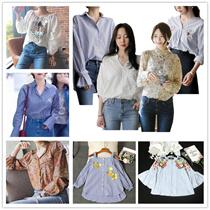 2017 大人気  韓国ファッション新作 格安トレンド 刺繍 花柄ストライプシャツ 袖コンオフショルダー ブラウス トップス