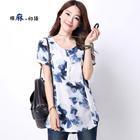 Printed linen cotton summer new original t-shirt female short-sleeved shirt loose large size t-shirt 3069 #