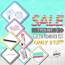 [♥VAINPOT♥]★GELISH REMOVER Soak off PADS★PUSHER/ FILE/ BUFFER★STARTER KIT★DIY★