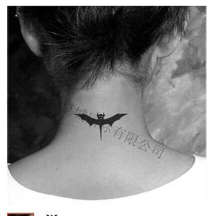 袁素时尚蓝色刺纹身和刺青防水黑蝙蝠图腾