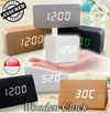 Wooden Digital Alarm Clock with Temperature Date Month Thermometer Wood Table Big Numbers LED Display ★ Battery / DC Input ★ Light  Voice Sensor ★ Triangle / Square / Rectangle Shape★