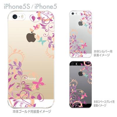 【iPhone5S】【iPhone5】【iPhone5sケース】【iPhone5ケース】【カバー】【スマホケース】【クリアケース】【フラワー】【花と蝶】 22-ip5s-ca0080の画像