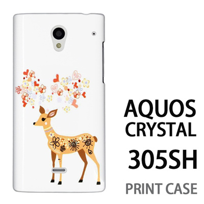 AQUOS CRYSTAL 305SH 用『0624 幻想的な鹿』特殊印刷ケース【 aquos crystal 305sh アクオス クリスタル アクオスクリスタル softbank ケース プリント カバー スマホケース スマホカバー 】の画像