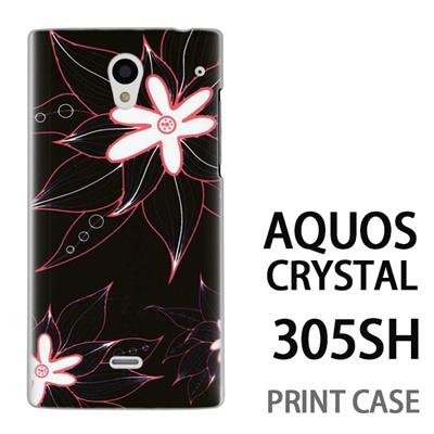 AQUOS CRYSTAL 305SH 用『0624 黒の花』特殊印刷ケース【 aquos crystal 305sh アクオス クリスタル アクオスクリスタル softbank ケース プリント カバー スマホケース スマホカバー 】の画像