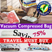 Premium Quality Vacuum Compressed Bags Vacuum storage bag Hand roll seal bag Home storage space saving Travel organizer winter clothes blanket tidy up