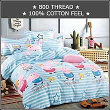 ★Factory Direct Sale!★ 800 THREAD FITTED CARTOON PLAIN BEDSHEET SET★100% COTTON FEEL
