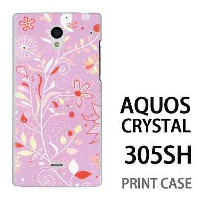 AQUOS CRYSTAL 305SH 用『0624 紫の花』特殊印刷ケース【 aquos crystal 305sh アクオス クリスタル アクオスクリスタル softbank ケース プリント カバー スマホケース スマホカバー 】の画像