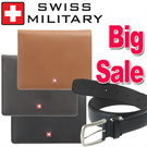Clearance sale★SWISS MILITARY★Authentic  Cow Leather  wallet and belt / Genuine Cow Leather Wallet for man / free gift wraping