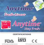 **ANYTIME** Panty Liner* Stay Fresh* Anion Layer*