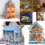 ◤COCO◥ DIY WOOD DOLLHOUSE WITH LED All Furniture including Super SALEMUSIC BOX  GIFT/Dollhouse/European Toy home/Miniature/Hobby  for Adults and Kids/Fun Item/Collection Toy/HANDMADE