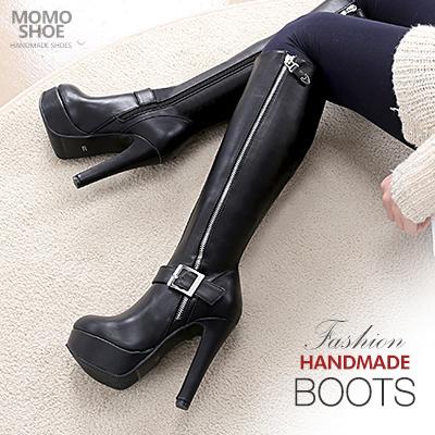 ★Handmade Boots★バックル・ジッパーポイントプラットフォームヒールロングブーツ