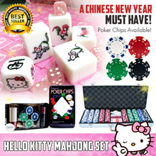 ★CNY★HELLO KITTY MAHJONG SET ☆ Singapore 148 Tiles ☆ Chinese New Year ☆ Free Dice ☆ Casino Chips