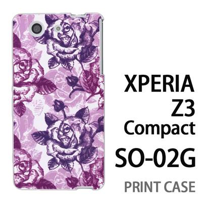 XPERIA Z3 Compact SO-02G 用『0113 たくさんの薔薇 紫』特殊印刷ケース【 xperia z3 compact so-02g so02g SO02G xperiaz3 エクスペリア エクスペリアz3 コンパクト docomo ケース プリント カバー スマホケース スマホカバー】の画像