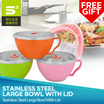 *STOCK AVAILABLE* Stainless Steel Large Bowl With Lid  [Free Stainless Steel Utensils]