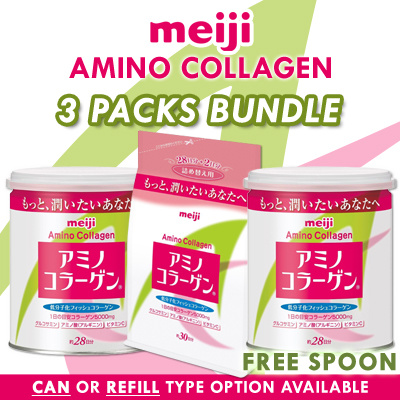 (APPLY COUPON!!) MEIJI 3 x Regular Amino Collagen Refill/ Can Saver Super Deal Deals for only S$100 instead of S$0