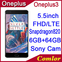 Original Oneplus 3 6GB RAM 64GB ROM Snapdragon 820 MSM8996 Quad Core 5.5 HD Android 6.0 4G LTE Fingerprin GPS Mobile Phone