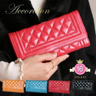 長財布 人気のキルティング長財布 ロングをレット 財布 アコーディオンタイプ レディース 可愛い 女性用 ギフト プレゼント wlpd-sy-403の画像