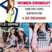 [CHEAPEST! FLAT SHIPPING] SWIMSUIT Wetsuit split female Korean long-sleeved sun protection clothing swimsuit beach surf clothing snorkeling jellyfish clothing fitness yoga clothes